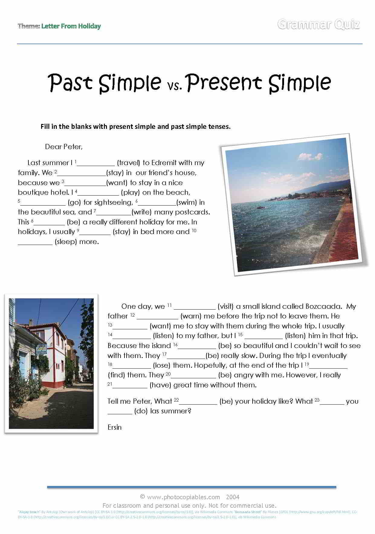 present tense vs past tense examples