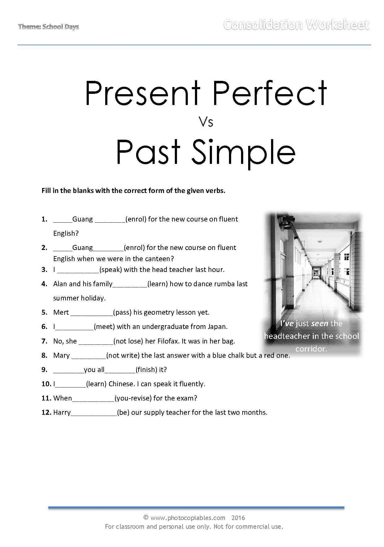worksheet Past Simple Or Present Perfect Worksheet present perfect vs past simple consolidation online exercise exercise