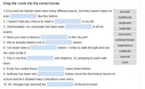 personal experiences vocabulary online exercise