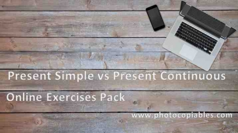 present simple vs present continuous online exercises pack cover