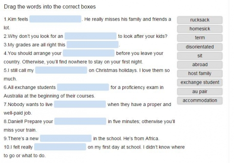 studying abroad vocabulary theme online quiz